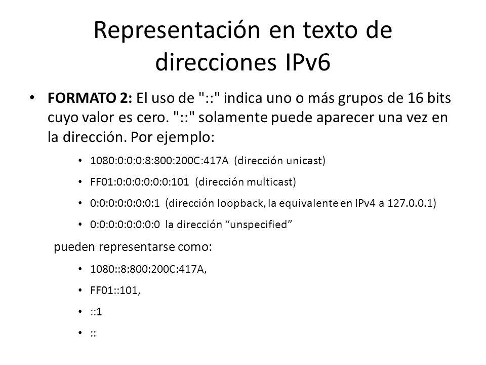 Representación en texto de direcciones IPv6 Hay tres formas FORMATO 1: La forma x:x:x:x:x:x:x:x, donde las x son valores hexadecimales de ocho campos,