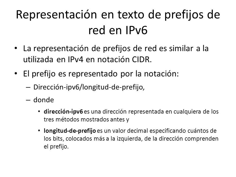 Representación en texto de direcciones IPv6 FORMATO 3: Una forma alternativa que es más conveniente cuando se trabaja en ambientes mezclados IPv4 e IP