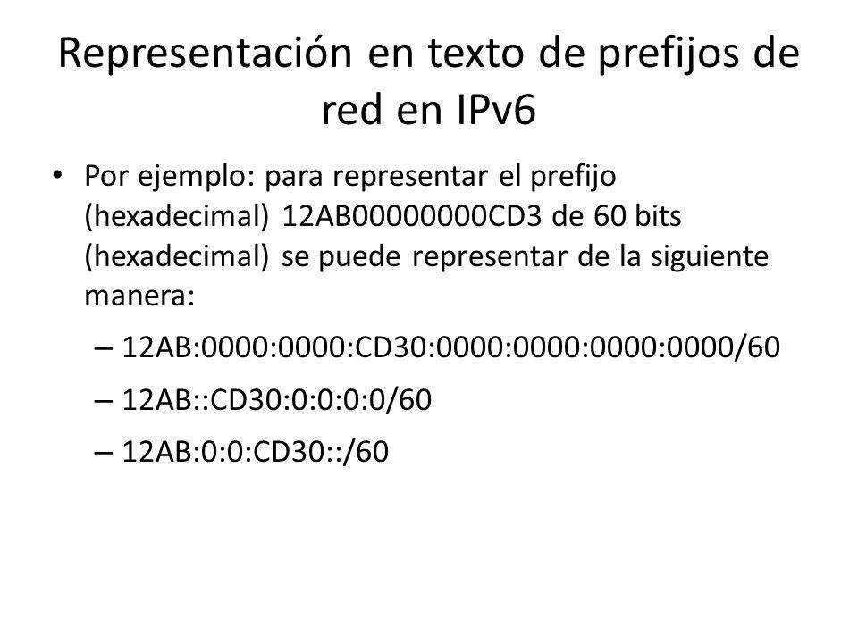 Representación en texto de prefijos de red en IPv6 La representación de prefijos de red es similar a la utilizada en IPv4 en notación CIDR. El prefijo