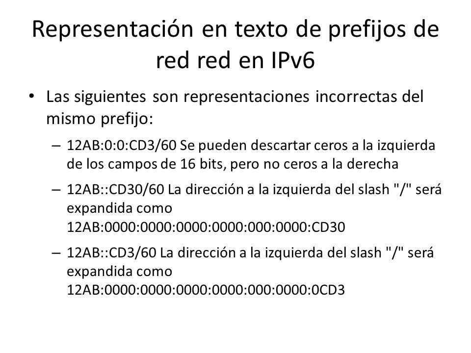 Representación en texto de prefijos de red en IPv6 Por ejemplo: para representar el prefijo (hexadecimal) 12AB00000000CD3 de 60 bits (hexadecimal) se