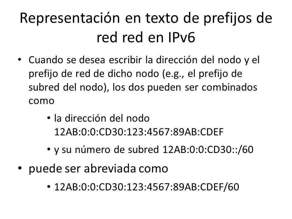 Representación en texto de prefijos de red red en IPv6 Las siguientes son representaciones incorrectas del mismo prefijo: – 12AB:0:0:CD3/60 Se pueden
