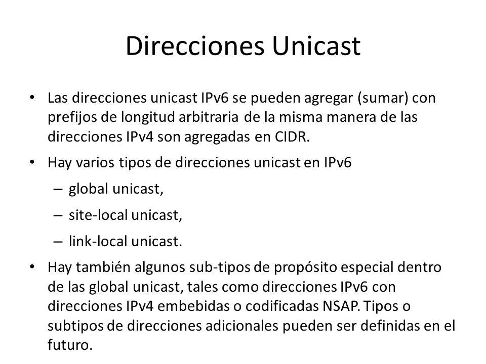 Identificación del tipo de dirección Los tipos de direcciones IPv6 se identifican de acuerdo con los bits más significativos de la dirección. Las dire