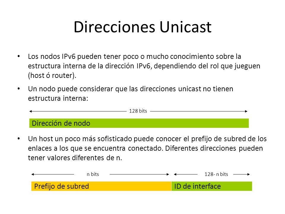 Direcciones Unicast Las direcciones unicast IPv6 se pueden agregar (sumar) con prefijos de longitud arbitraria de la misma manera de las direcciones I