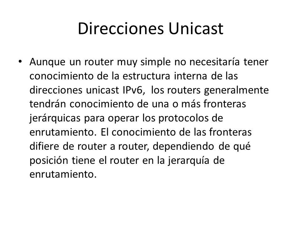 Direcciones Unicast Los nodos IPv6 pueden tener poco o mucho conocimiento sobre la estructura interna de la dirección IPv6, dependiendo del rol que ju