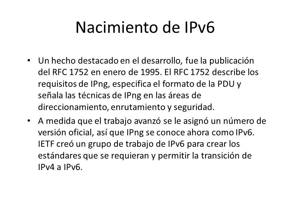 Nacimiento de IPv6 En 1991, la IETF empezó a estudiar el problema de expandir el número de direcciones de Internet. Como la dirección IP va en el head