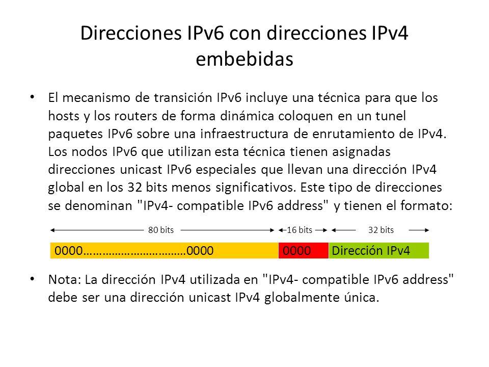 Direcciones Global Unicast El formato general de una dirección global unicast IPv6 es: donde el prefijo de enrutamiento global es un valor asignado (n