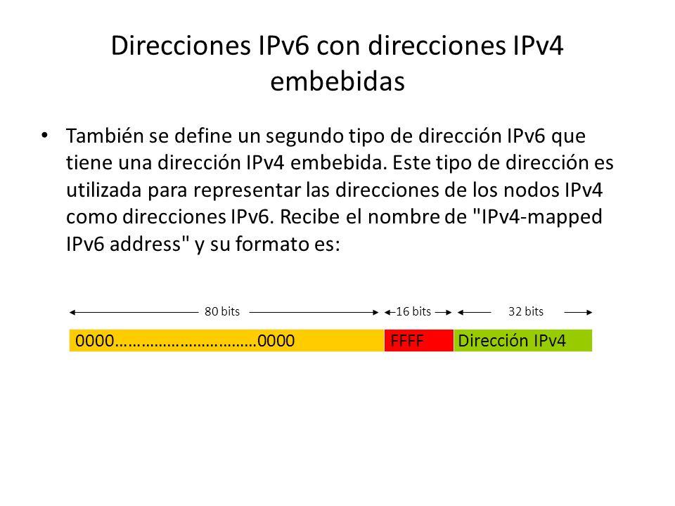 Direcciones IPv6 con direcciones IPv4 embebidas El mecanismo de transición IPv6 incluye una técnica para que los hosts y los routers de forma dinámica