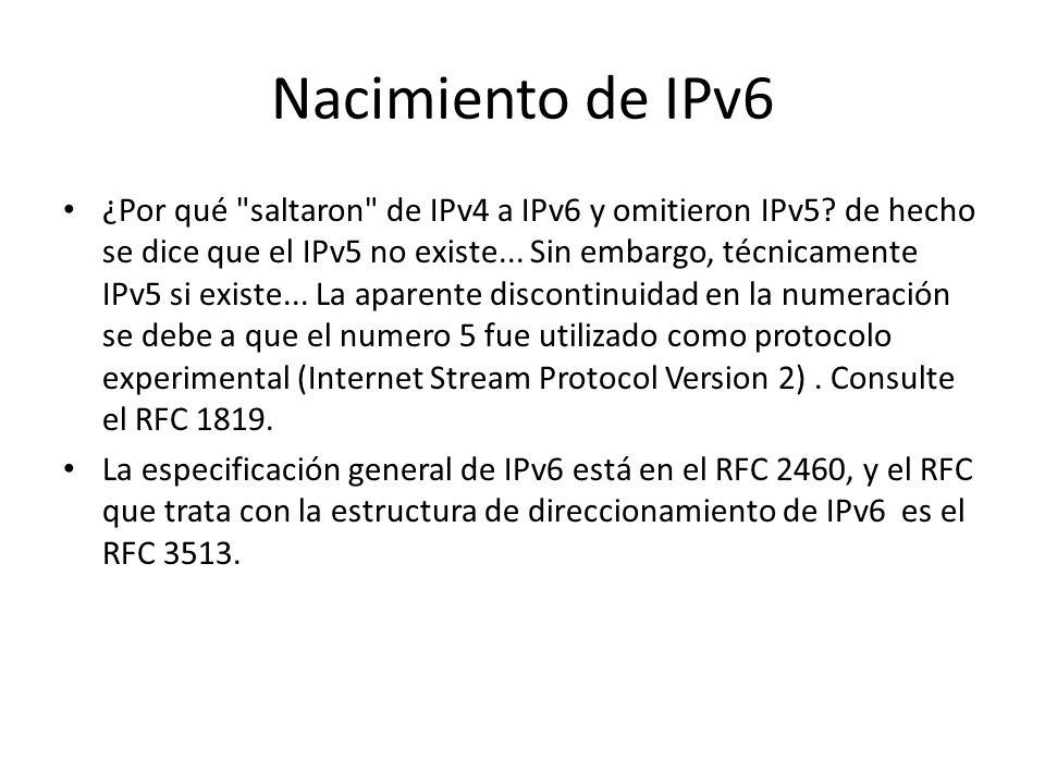Algunas características de IPv6 Incluye capacidad de etiquetamiento de flujos que permite marcar los paquetes de tal forma que pueden ser asociados a un flujo entre un transmisor y un receptor y se puede solicitar un manejo especial para dichos paquetes (QoS) Tiene extensiones para autenticación y privacidad, integridad de datos, y confidencialidad de datos.