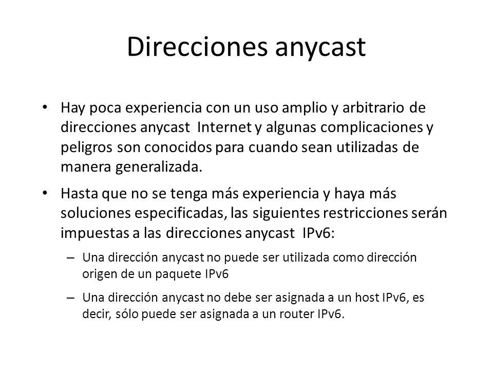 Direcciones anycast Uno de los usos esperados de las direcciones anycast es identificar un conjunto de routers perteneciente a una organización que of