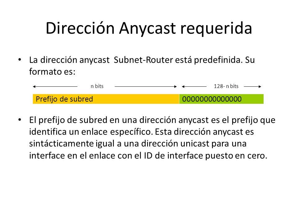 Direcciones anycast Hay poca experiencia con un uso amplio y arbitrario de direcciones anycast Internet y algunas complicaciones y peligros son conoci