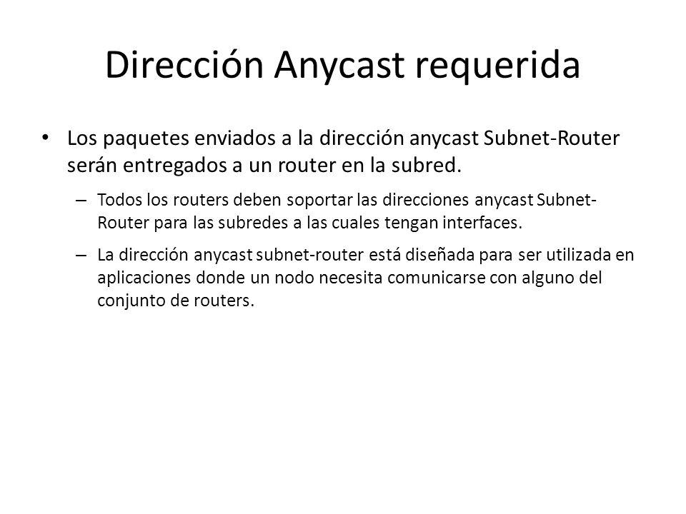 Dirección Anycast requerida La dirección anycast Subnet-Router está predefinida. Su formato es: El prefijo de subred en una dirección anycast es el pr