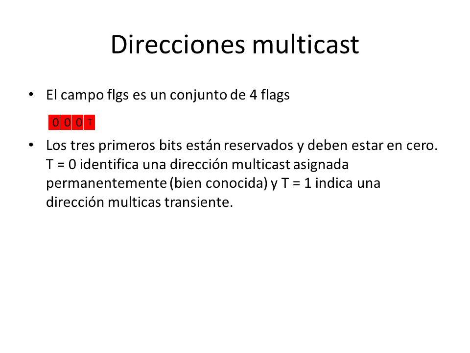 Direcciones multicast Una dirección multicast IPv6 es un identificador para un grupo de interfaces (normalmente en diferentes nodos). Una interface pu