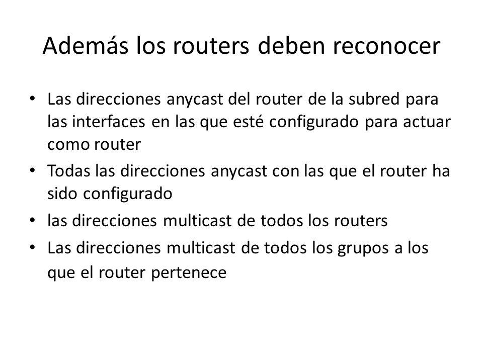 Direcciones requeridas para cualquier nodo Direcciones locales de enlace para cada interface Direcciones unicast asignadas Dirección de loopback Direc