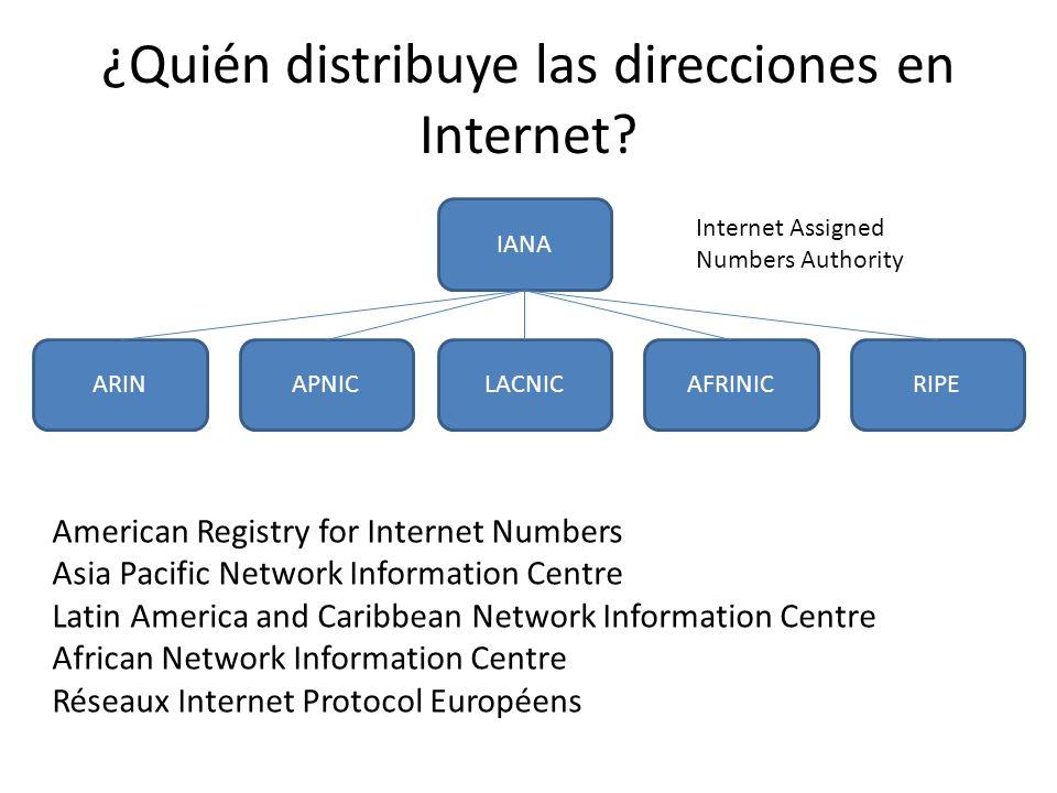 ¿Quién distribuye las direcciones en Internet.