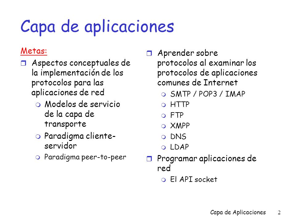 Capa de Aplicaciones93 Capítulo 2: contenido r 2.1 Principios de los protocolos de la capa de aplicaciones m Clientes y servidores m Requerimientos de las aplicaciones r 2.2 Web y HTTP r 2.3 FTP r 2.4 Correo electrónico m SMTP, POP3 e IMAP r 2.5 DNS r 2.6 Programación con Sockets de TCP r 2.7 Programación con Sockets de UDP r 2.8 Construyendo un servidor Web r 2.9 Distribución de contenido m Caching de web en la red m Redes de distribución de contenido m Archivos compartidos P2P