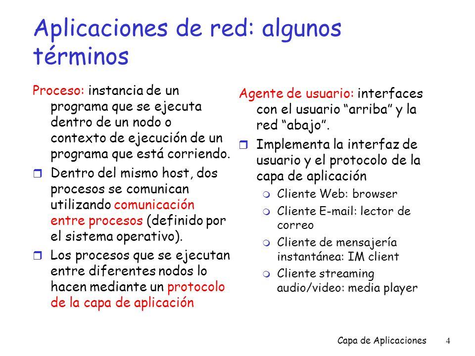 Capa de Aplicaciones85 Interacción de sockets en cliente/servidor: UDP cierra clientSocket Servidor (ejecutando en hostid ) Lee la respuesta desde clientSocket crea socket, clientSocket = DatagramSocket() Cliente Crea, asocia dirección ( hostid, port=x) envía datagrama de solicitud usando clientSocket crea socket, port= x, para recibir solicitudes: serverSocket = DatagramSocket() Lee la solicitud desde serverSocket Escribe la respuesta en serverSocket Especificando la dirección IP del cliente y el número de puerto