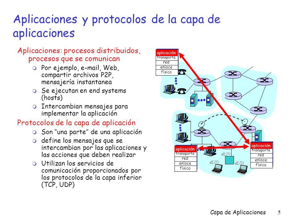 Capa de Aplicaciones6 Un protocolo de la capa de aplicaciones define… r Los tipos de mensajes intercambiados, es decir los mensajes de solicitud y los de respuesta r La sintáxis de los tipos de mensaje: qué campos tendrá el mensaje y cómo se delimitan los campos r La semántica de los campos, es decir, el significado de la información colocada en los campos r Las reglas de cuándo y cómo los procesos envían o reciben mensajes Protocolos de dominio público: r Definidos en RFCs r Buscan interoperabilidad r ejemplos, HTTP, SMTP Protocolos proprietarios: r ejemplo, KaZaA