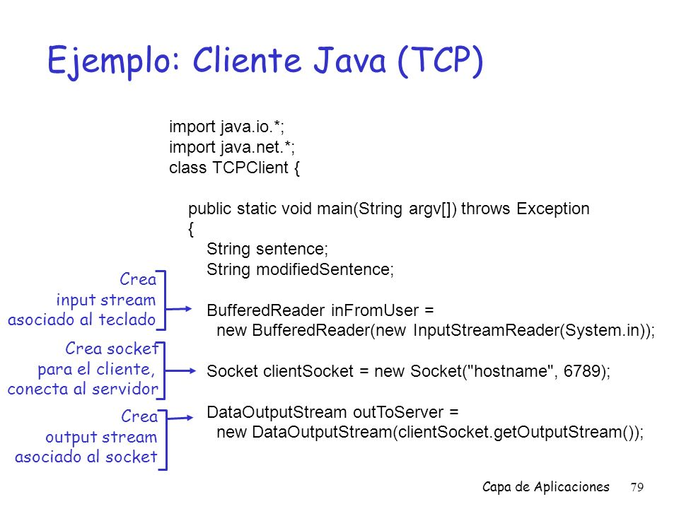 Capa de Aplicaciones79 Ejemplo: Cliente Java (TCP) import java.io.*; import java.net.*; class TCPClient { public static void main(String argv[]) throws Exception { String sentence; String modifiedSentence; BufferedReader inFromUser = new BufferedReader(new InputStreamReader(System.in)); Socket clientSocket = new Socket( hostname , 6789); DataOutputStream outToServer = new DataOutputStream(clientSocket.getOutputStream()); Crea input stream asociado al teclado Crea socket para el cliente, conecta al servidor Crea output stream asociado al socket
