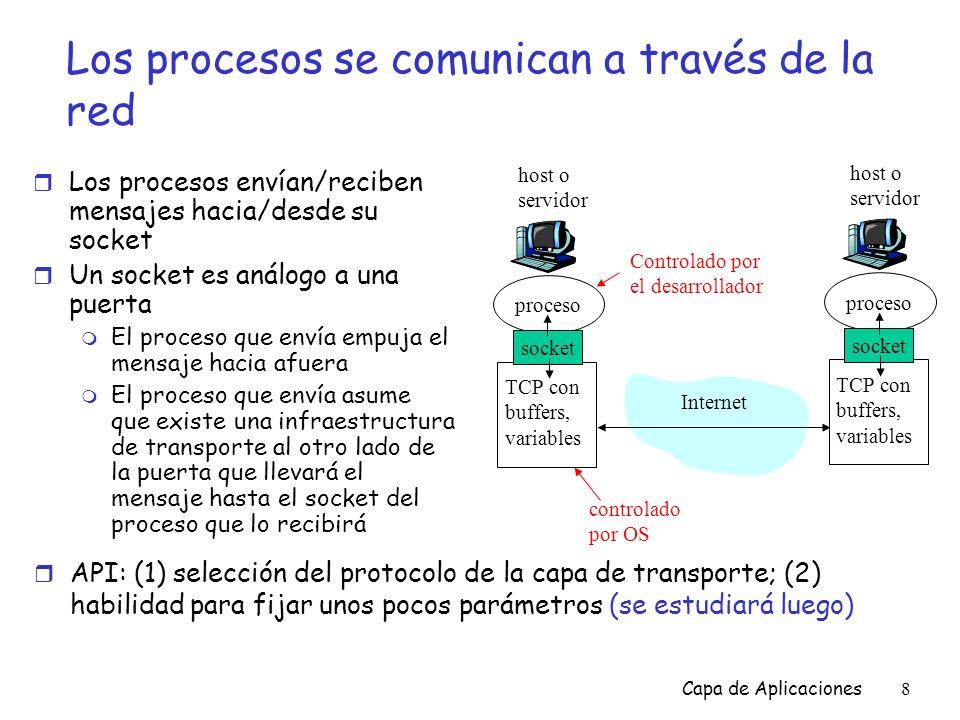 Capa de Aplicaciones79 Ejemplo: Cliente Java (TCP) import java.io.*; import java.net.*; class TCPClient { public static void main(String argv[]) throws Exception { String sentence; String modifiedSentence; BufferedReader inFromUser = new BufferedReader(new InputStreamReader(System.in)); Socket clientSocket = new Socket( hostname , 6789); DataOutputStream outToServer = new DataOutputStream(clientSocket.getOutputStream()); Crea input stream asociado al teclado Crea socket para el cliente, conecta al servidor Crea output stream asociado al socket