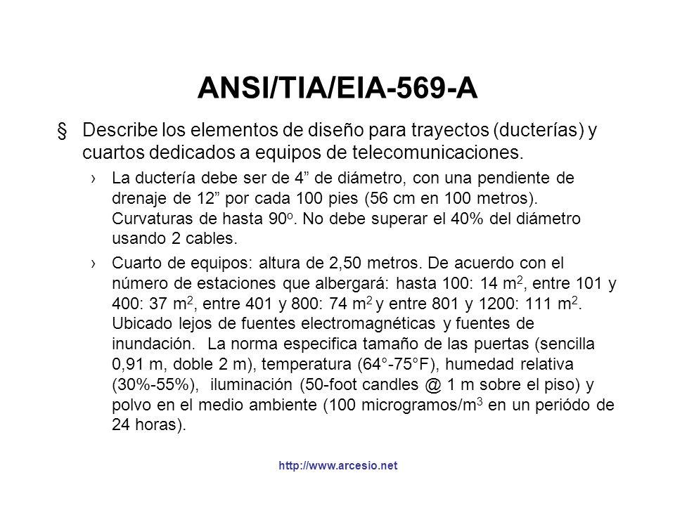 Otras normas §ANSI/TIA/EIA-569-A (febrero 1998): Estándar para trayetos (pathways) y espacios para edificios comerciales. §ANSI/TIA/EIA-570-A (septiem