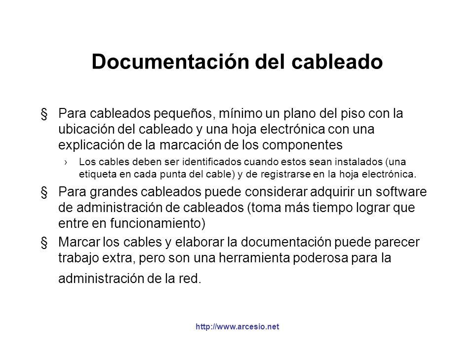 Conceptos de administración §Un sistema de administración de cableado normal debe incluir: registros, reportes, planos y órdenes de trabajo Planos y d