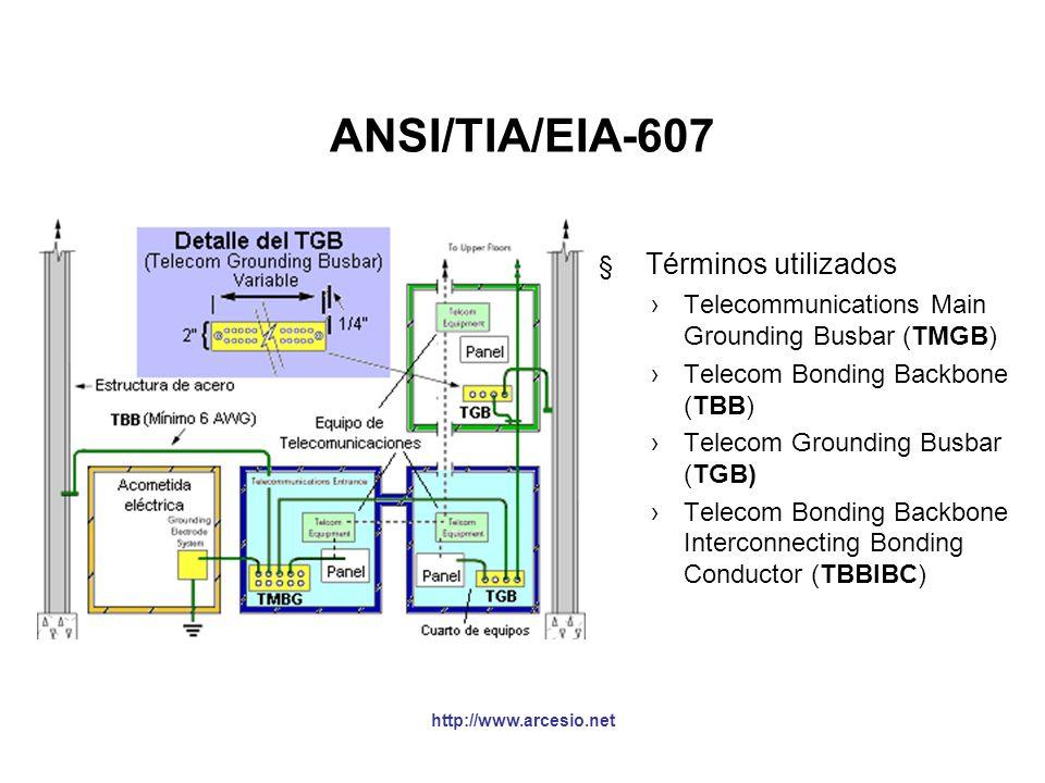 ANSI/TIA/EIA-607 §Esta norma especifican como se debe hacer la conexión del sistema de tierras (los sistemas de telecomunicaciones requieren puestas a