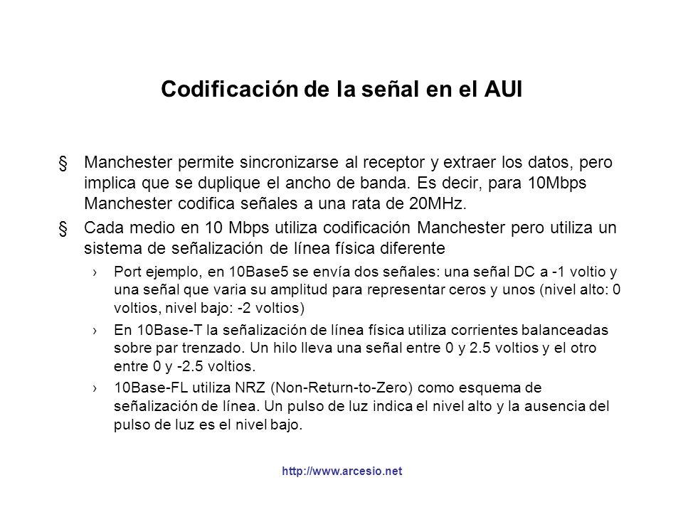 http://www.arcesio.net Codificación de la señal en el AUI §10 Mbps utiliza el sistema de codificación Manchester. En este sistema se combinan los dato