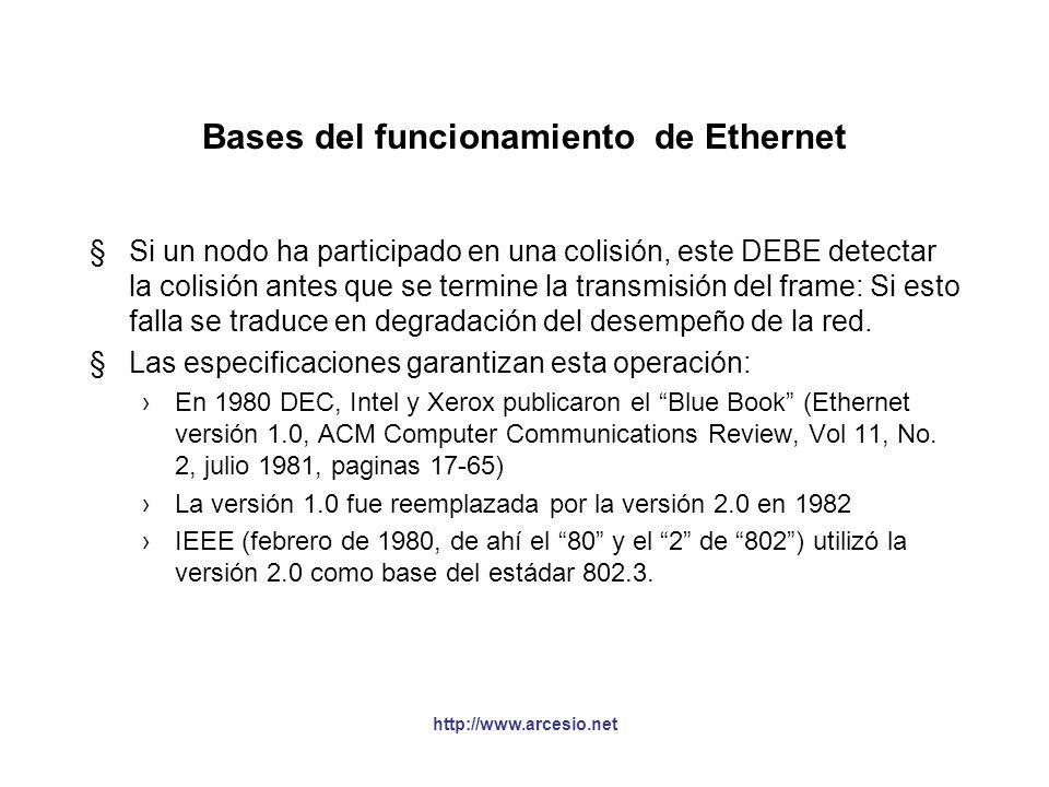 http://www.arcesio.net ¿Qué tan largo es un bit en 10 Mbps? Coaxial grueso: 231.000 Km/s dividido en 10 millones de bits por segundo = 23.1 metros. Co
