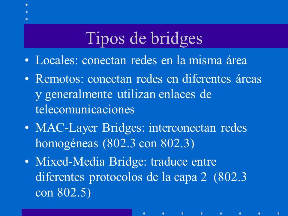 Tipos de bridges Locales: conectan redes en la misma área Remotos: conectan redes en diferentes áreas y generalmente utilizan enlaces de telecomunicac