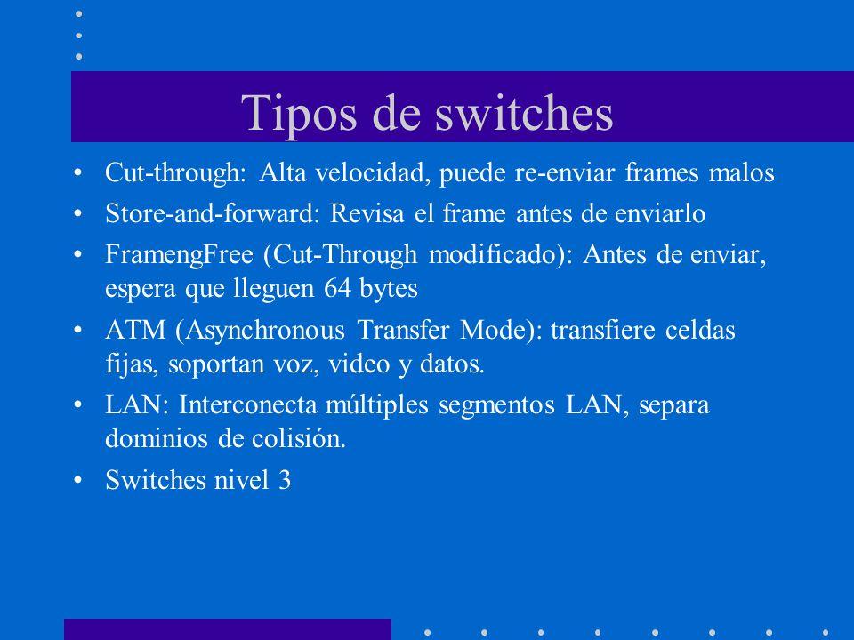 Tipos de switches Cut-through: Alta velocidad, puede re-enviar frames malos Store-and-forward: Revisa el frame antes de enviarlo FramengFree (Cut-Thro
