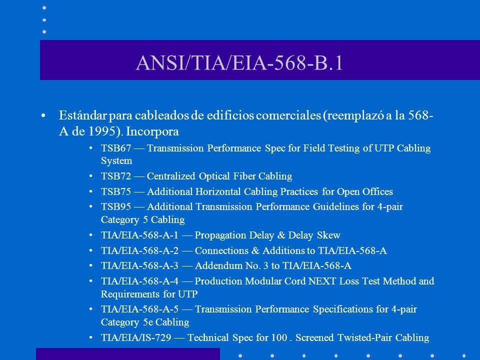 ANSI/TIA/EIA-568-B.1 Estándar para cableados de edificios comerciales (reemplazó a la 568- A de 1995). Incorpora TSB67 Transmission Performance Spec f