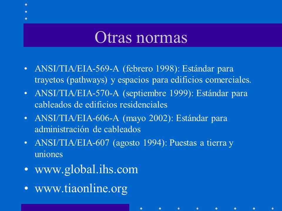 Otras normas ANSI/TIA/EIA-569-A (febrero 1998): Estándar para trayetos (pathways) y espacios para edificios comerciales. ANSI/TIA/EIA-570-A (septiembr