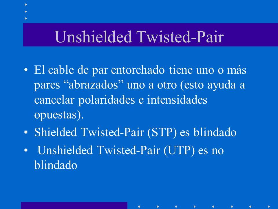 Unshielded Twisted-Pair El cable de par entorchado tiene uno o más pares abrazados uno a otro (esto ayuda a cancelar polaridades e intensidades opuest