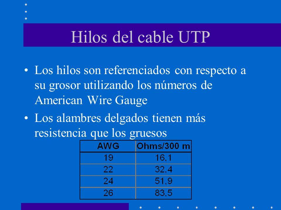 Hilos del cable UTP Los hilos son referenciados con respecto a su grosor utilizando los números de American Wire Gauge Los alambres delgados tienen má