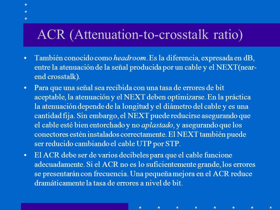 ACR (Attenuation-to-crosstalk ratio) También conocido como headroom. Es la diferencia, expresada en dB, entre la atenuación de la señal producida por
