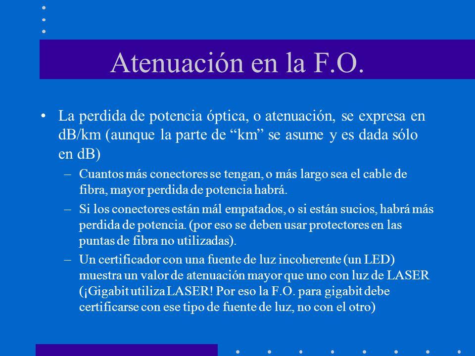 Atenuación en la F.O. La perdida de potencia óptica, o atenuación, se expresa en dB/km (aunque la parte de km se asume y es dada sólo en dB) –Cuantos