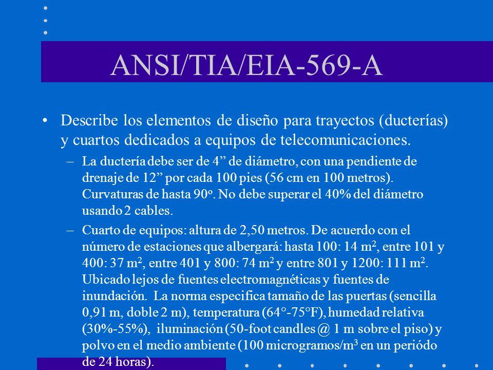 ANSI/TIA/EIA-569-A Describe los elementos de diseño para trayectos (ducterías) y cuartos dedicados a equipos de telecomunicaciones. –La ductería debe