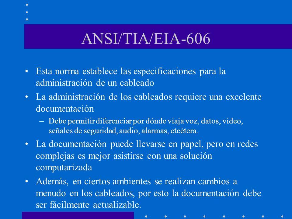 ANSI/TIA/EIA-606 Esta norma establece las especificaciones para la administración de un cableado La administración de los cableados requiere una excel