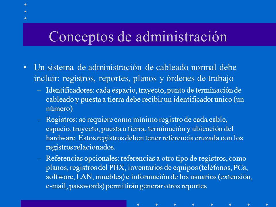 Conceptos de administración Un sistema de administración de cableado normal debe incluir: registros, reportes, planos y órdenes de trabajo –Identifica