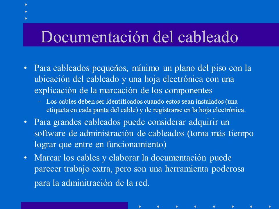 Documentación del cableado Para cableados pequeños, mínimo un plano del piso con la ubicación del cableado y una hoja electrónica con una explicación