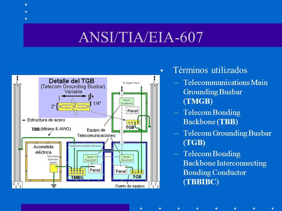 ANSI/TIA/EIA-607 Términos utilizados –Telecommunications Main Grounding Busbar (TMGB) –Telecom Bonding Backbone (TBB) –Telecom Grounding Busbar (TGB)