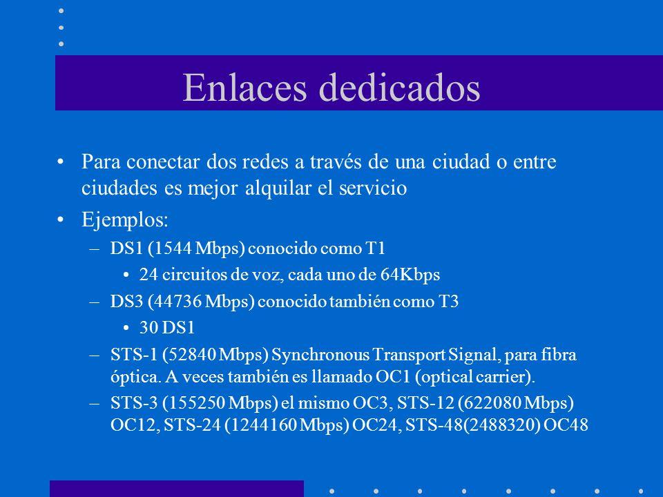Enlaces dedicados Para conectar dos redes a través de una ciudad o entre ciudades es mejor alquilar el servicio Ejemplos: –DS1 (1544 Mbps) conocido co