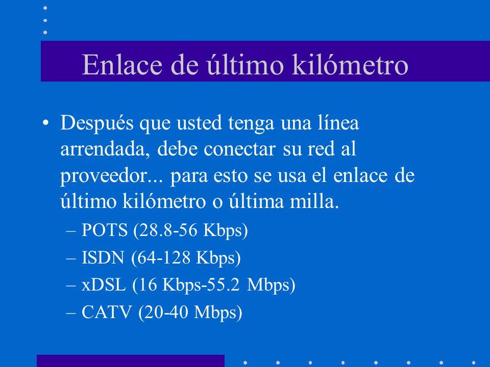 Enlace de último kilómetro Después que usted tenga una línea arrendada, debe conectar su red al proveedor... para esto se usa el enlace de último kiló