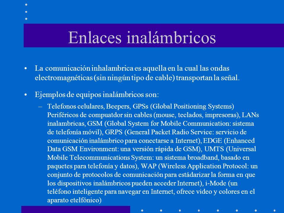 Enlaces inalámbricos La comunicación inhalambrica es aquella en la cual las ondas electromagnéticas (sin ningún tipo de cable) transportan la señal. E