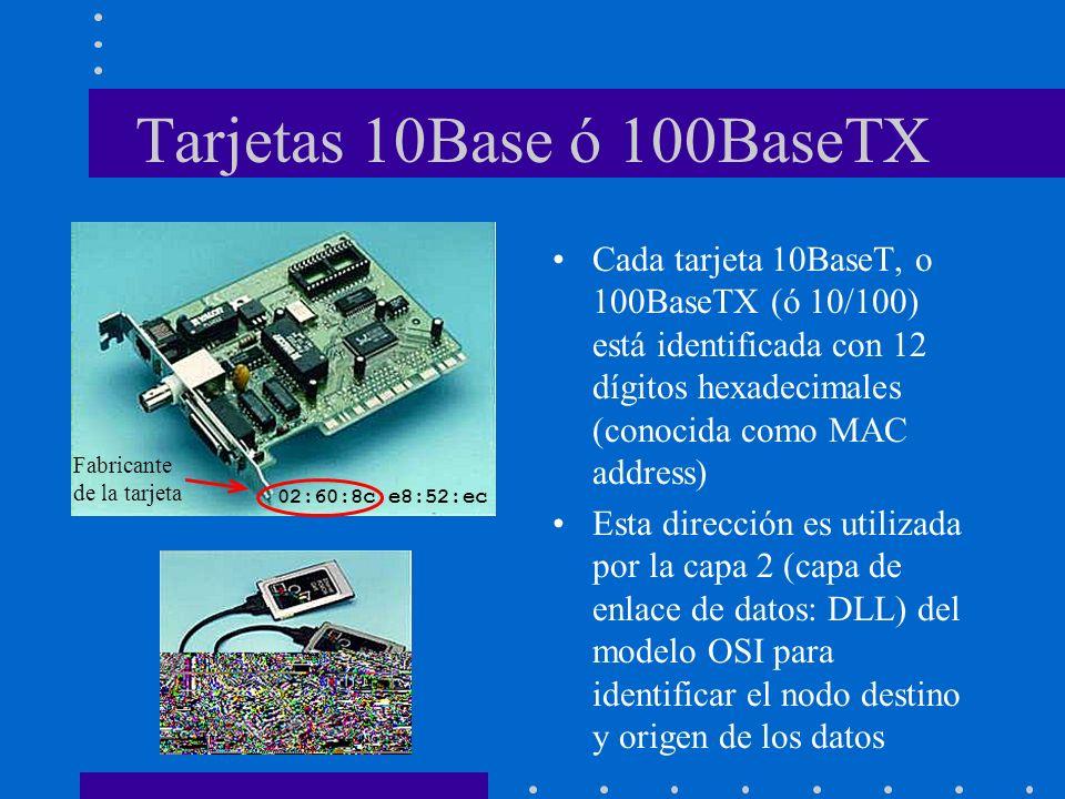 Tarjetas 10Base ó 100BaseTX Cada tarjeta 10BaseT, o 100BaseTX (ó 10/100) está identificada con 12 dígitos hexadecimales (conocida como MAC address) Es