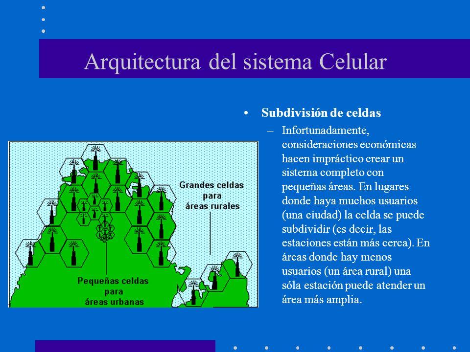 Arquitectura del sistema Celular Subdivisión de celdas –Infortunadamente, consideraciones económicas hacen impráctico crear un sistema completo con pe