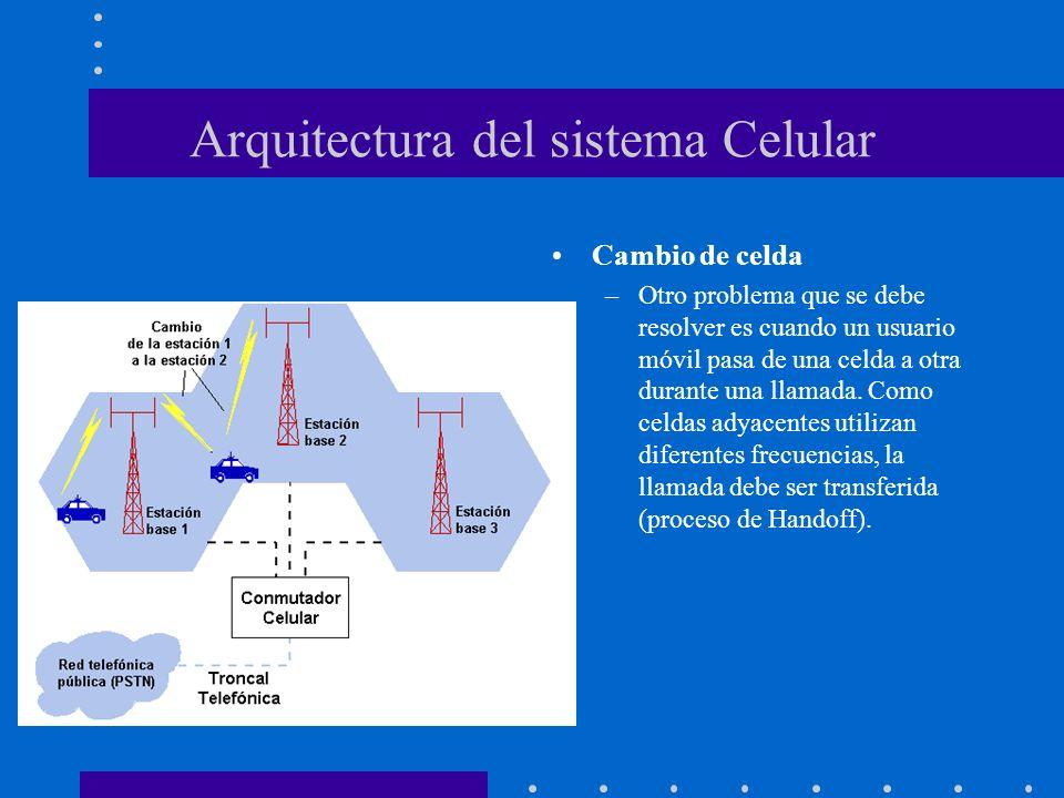 Arquitectura del sistema Celular Cambio de celda –Otro problema que se debe resolver es cuando un usuario móvil pasa de una celda a otra durante una l