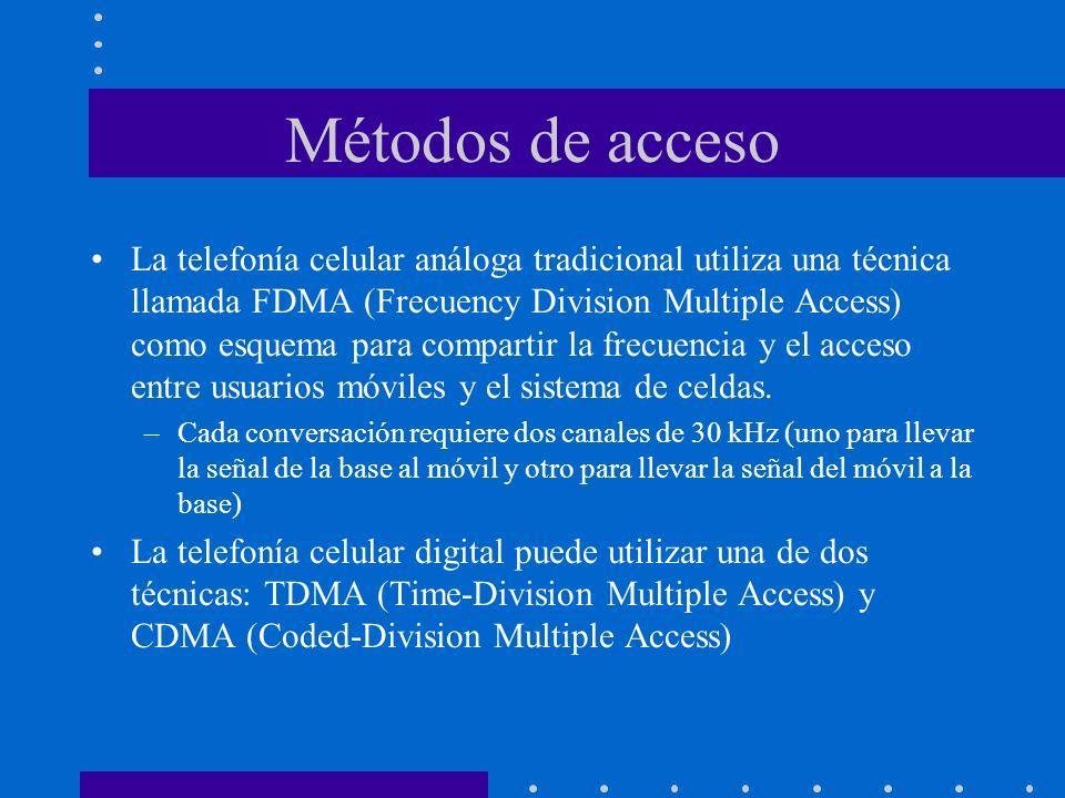 Métodos de acceso La telefonía celular análoga tradicional utiliza una técnica llamada FDMA (Frecuency Division Multiple Access) como esquema para com