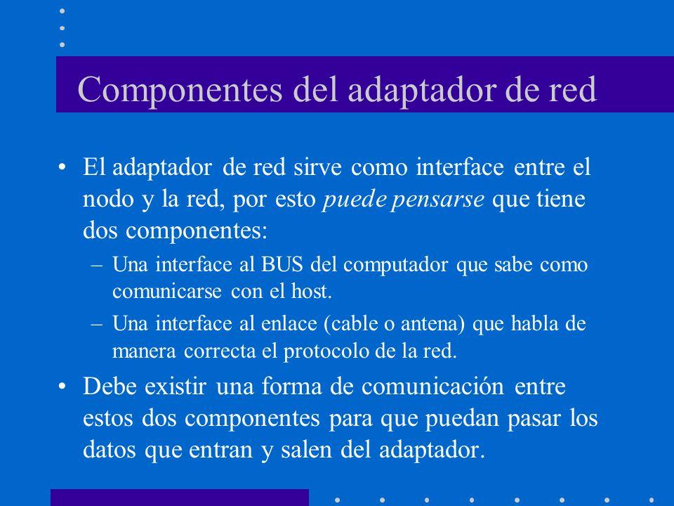 Componentes del adaptador de red El adaptador de red sirve como interface entre el nodo y la red, por esto puede pensarse que tiene dos componentes: –