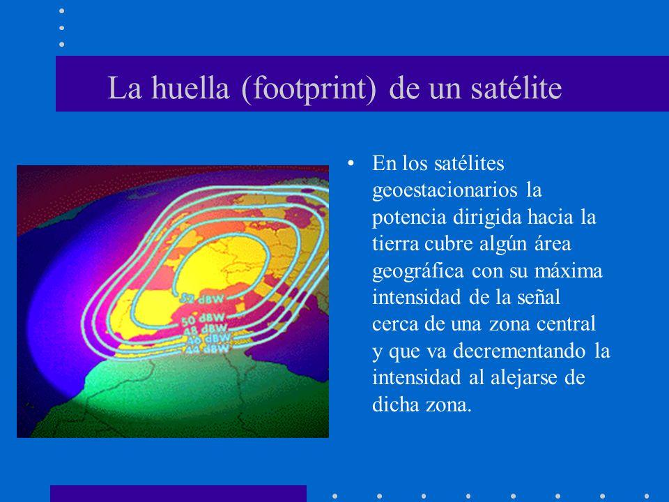 La huella (footprint) de un satélite En los satélites geoestacionarios la potencia dirigida hacia la tierra cubre algún área geográfica con su máxima